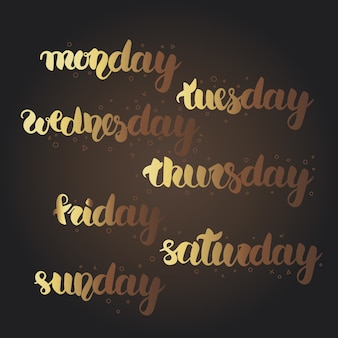 Maandag, dinsdag, woensdag, donderdag, vrijdag, zaterdag, zondag belettering