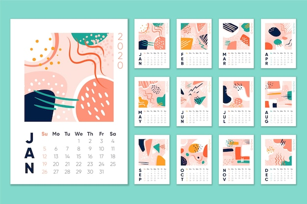 Maandelijks schema kalender 2020
