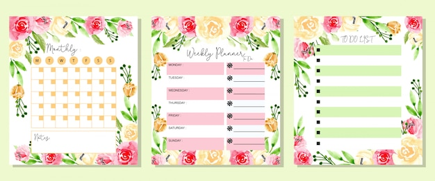 Maandelijks wekelijks instellen en takenlijst aquarel bloem