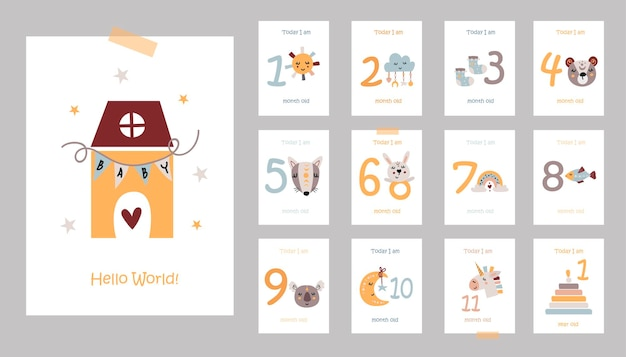 Maandelijkse babykaarten met schattige dieren illustratie
