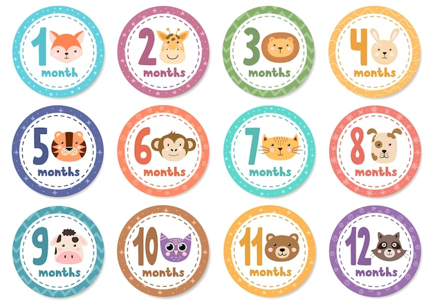 Maandelijkse babystickers met schattige dieren.