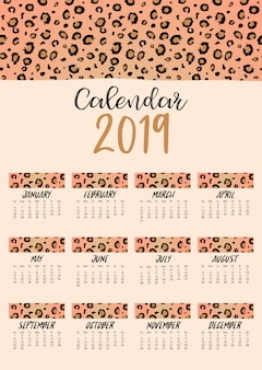 Maandelijkse kalender 2019 met luipaardvel