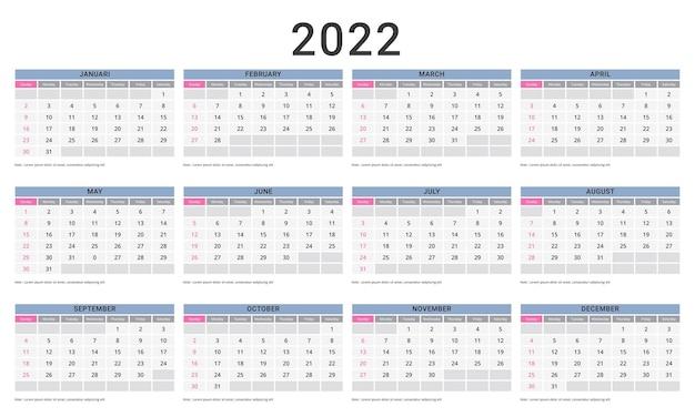 Maandelijkse kalendersjabloon voor 2022 jaar