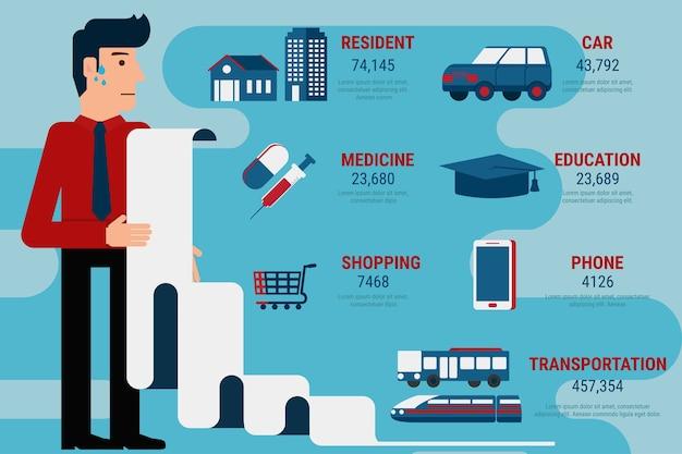 Maandelijkse onkostenvergoeding factuur infographics.
