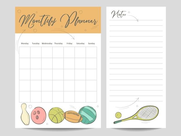 Maandelijkse planner en pagina voor notitiesjabloon