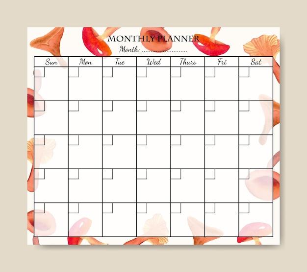 Maandelijkse plannersjabloon met handgeschilderde aquarel paddestoelen achtergrond