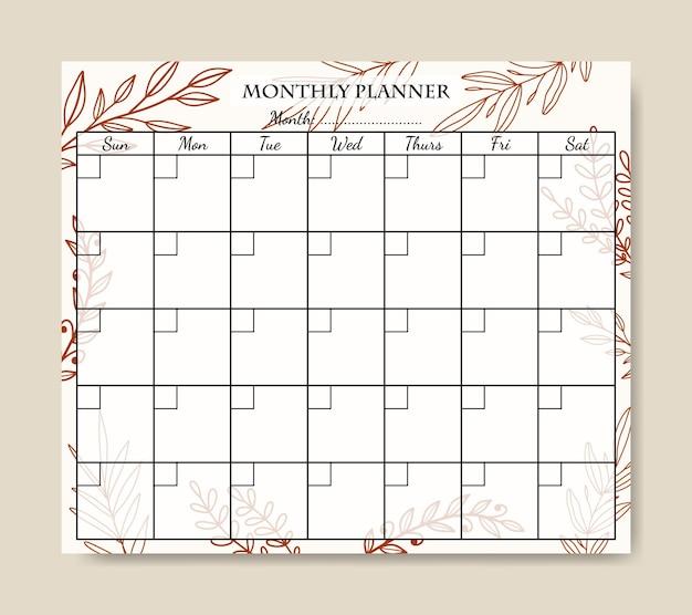 Maandelijkse plannersjabloon met handgetekende lijntekeningen bladachtergrond afdrukbaar