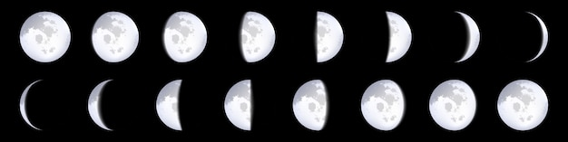 Maanfasen schema's, maankalender, maanlicht.