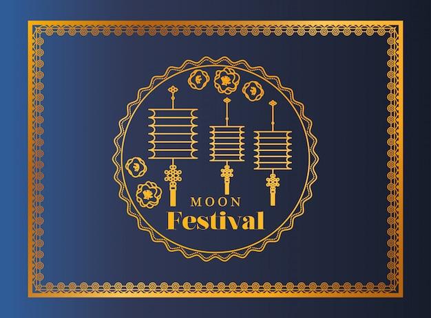 Maanfestival met lantaarns en zegel in gouden frame op blauwe achtergrond