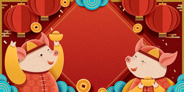 Maanjaarontwerp met mooie piggy met goudstaven op rode achtergrond, hangende lantaarns en vallende muntendecoratie