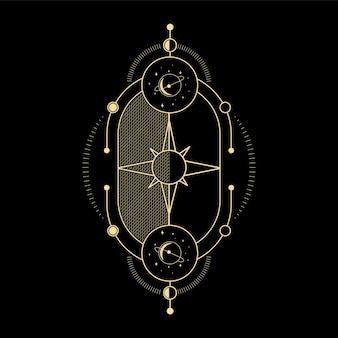 Maankristal zonnegolf en heilige geometrie voor spirituele begeleiding tarotkaartlezer tattoo-ontwerp