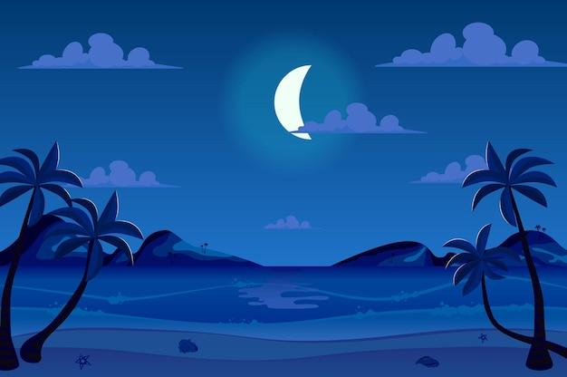 Maanlichtnacht bij kustlandschap in vlakke beeldverhaalstijl