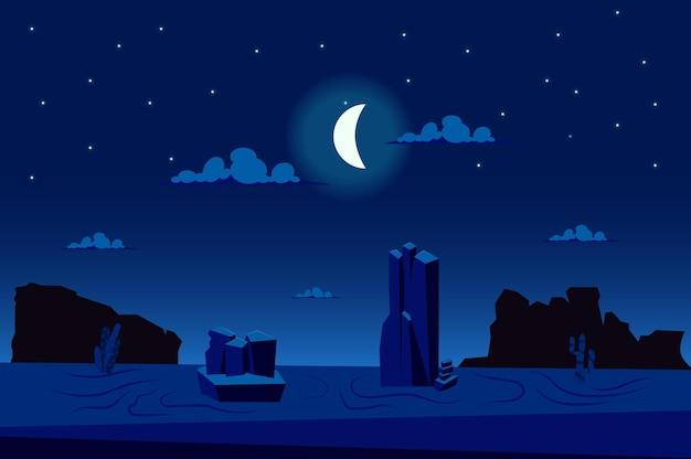 Maanlichtnacht in woestijnlandschap in platte cartoon-stijl