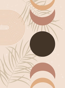 Maanstanden en palmbladeren aardetinten terracotta kleuren boho wanddecor halverwege de eeuw kunstdruk