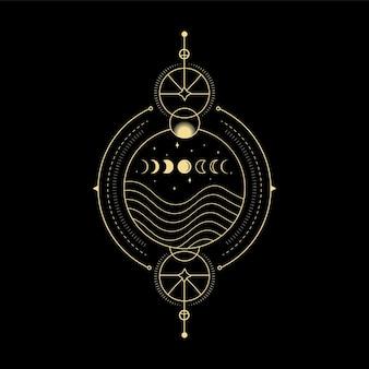 Maanstanden sterkristal zonnegolf en heilige geometrie voor spirituele begeleiding tarotkaartlezer