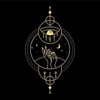 Maansterkristal zonnegolf en heilige geometrie voor spirituele begeleiding tarotkaartlezer tattoo