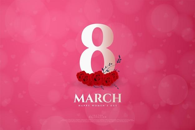 Maart met cijfers en realistische rode rozen.