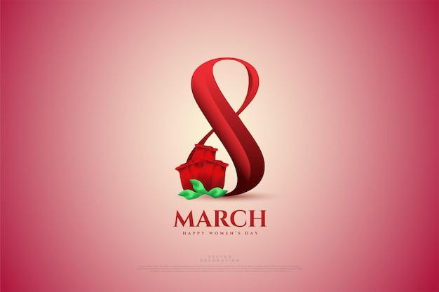 Maart met rode cijfers en rode rozen.