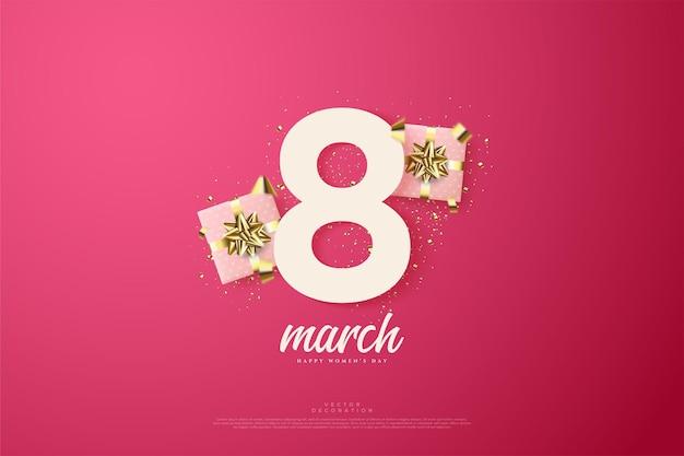 Maart met twee dozen met roze geschenken en een gouden lint.
