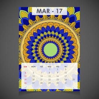 Maart sier kalender voor 2017