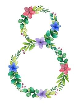 Maart vrouwendag aquarel bloem frame, krans in de vorm van nummer acht
