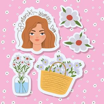 Maart vrouwendag belettering met schattige vrouw en witte bloemen illustratie