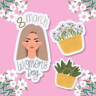 Maart vrouwendag belettering, mooie vrouw met lichtbruin haar en manden met bloemen illustratie