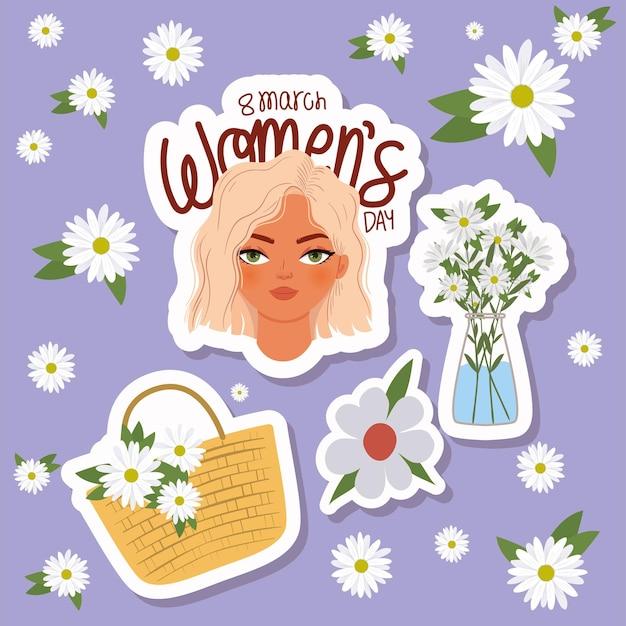 Maart vrouwendag belettering, vrouw met blond haar en mand met witte bloemen illustratie