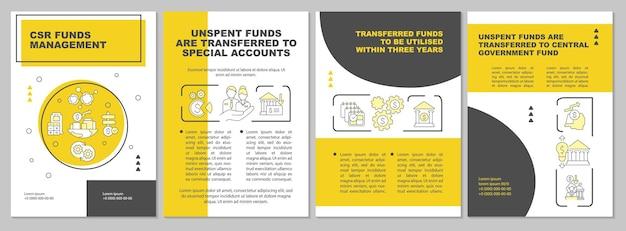 Maatschappelijk verantwoord ondernemen fondsen gele brochure sjabloon. flyer, boekje, folder afdrukken, omslagontwerp met lineaire pictogrammen. vectorlay-outs voor presentatie, jaarverslagen, advertentiepagina's
