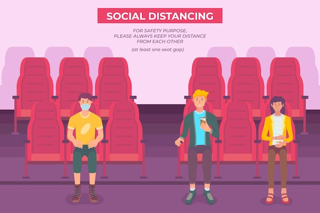 Maatschappelijke afstand in bioscopen geïllustreerd