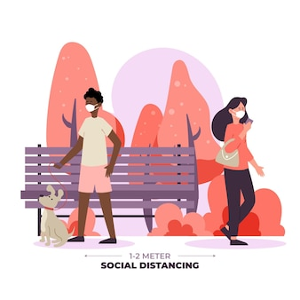 Maatschappelijke afstand in een park