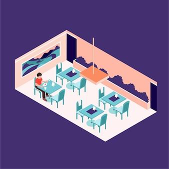 Maatschappelijke afstand in een restaurant