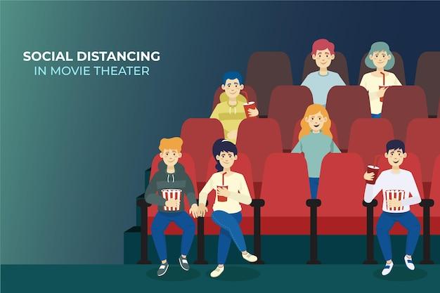 Maatschappelijke afstand om veiligheidsredenen in de bioscoop