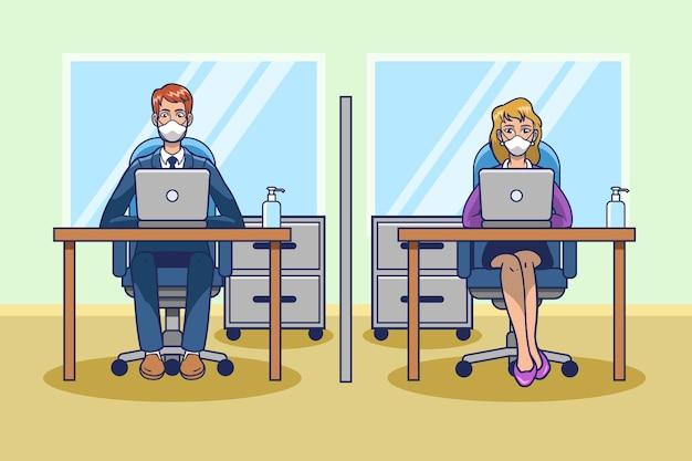 Maatschappelijke afstand op de werkruimte