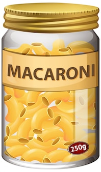 Macaroni in glazen pot