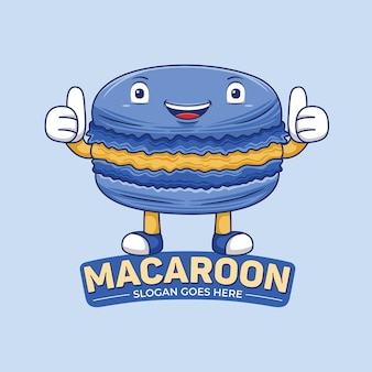 Macaroon-mascotte-logo in platte ontwerpstijl