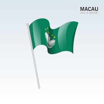 Macau wapperende vlag geïsoleerd op grijs