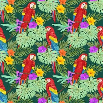 Macaw en tropische plant