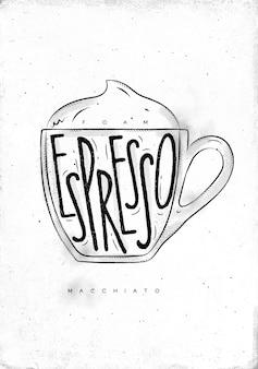 Macciato cup belettering schuim, espresso in vintage afbeeldingsstijl puttend uit vuile papier achtergrond