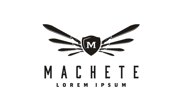 Machete en wings shield logo design inspiratie
