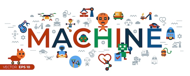Machine-automatisering en kunstmatige intelligentie robots iconen collectie