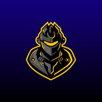 Machine warrior e sport logo ontwerp. machine krijger gaming mascotte of twitch profiel