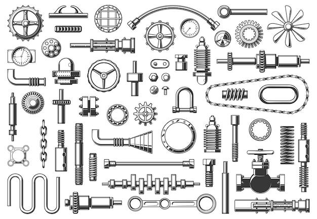 Machineonderdelen ketting, buis en koppeling, tandwiel of rondsel