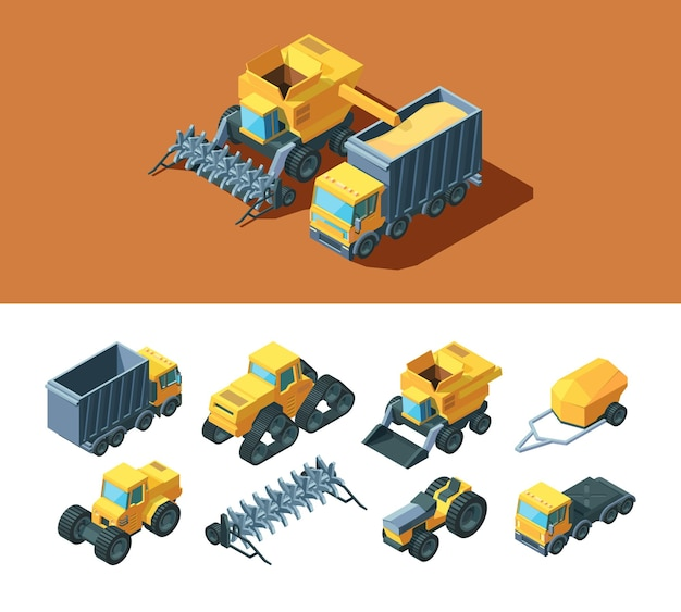 Machines landbouw isometrische illustratie