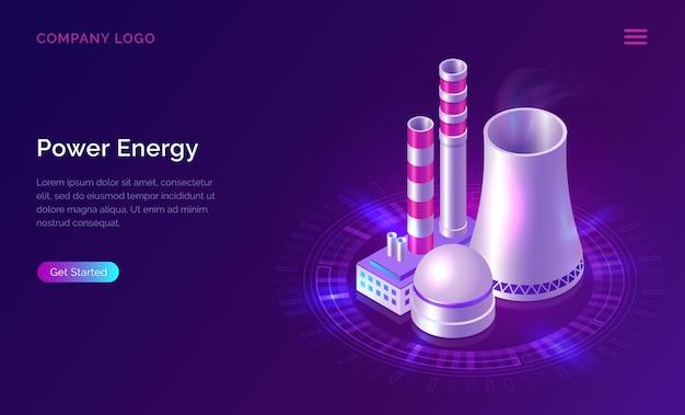 Macht energie isometrisch concept met kerncentrale