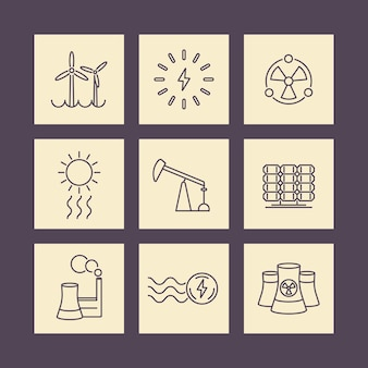 Macht, energieproductie, elektrische industrie, lijn vierkante pictogrammen