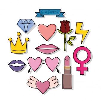 Macht meisje stickers pop-art stijl