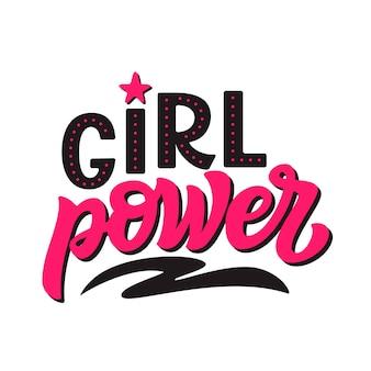 Macht van het meisje. vector kalligrafie sjabloon