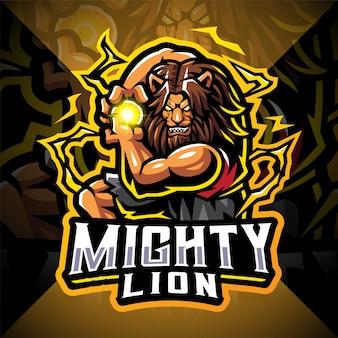 Machtige leeuw esport mascotte logo ontwerp