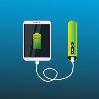 Machtsbank die het digitale concept van de tablet draagbare mobiele batterij laden